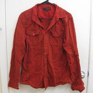 EUC red Guess striped button-up shirt M medium